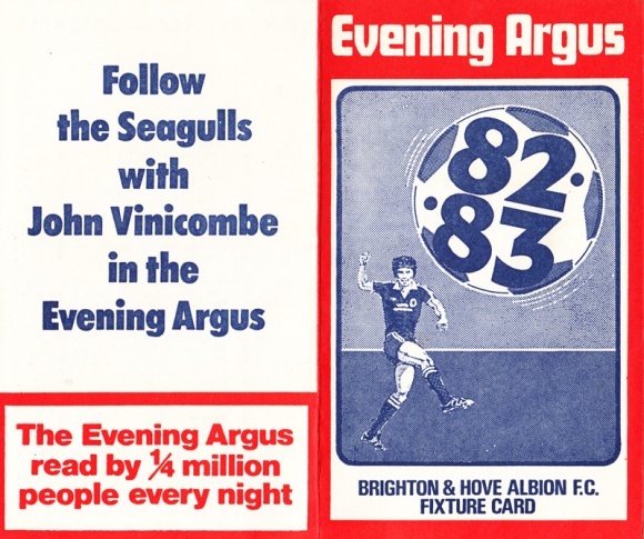 1982/83 Fixture Card 1