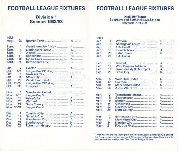 1982/83 Fixture Card 2