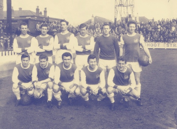 Brighton's Fourth Division championship side of 1964/65. Back row left to right; Bertolini, Baxter, Hopkins, Turner, Powney, Hennigan. Front row left to right; Gould, Collins, R. Smith, J.Smith, Goodchild.