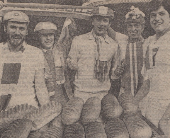Putting their dough on an Albion victory are Tim Cutress, John Joyce, Matthew Cutress, Graham Taylor (no, not that one) and Chris Budd.