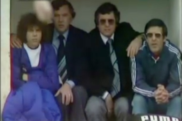 Peter Ward on the bench as an unused substitute at Orient in April 1979