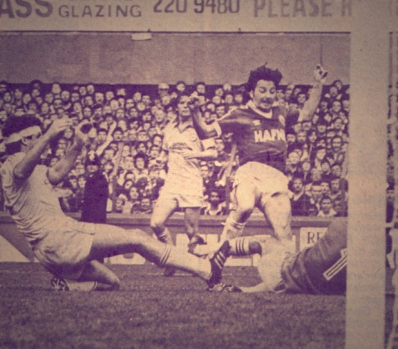 Thomas goes close against Brighton earlier on in the 1981/82 season