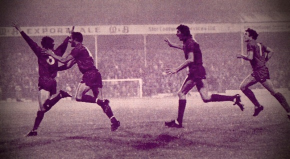 Peter Ward wheels away after scoring his second goal of the night against WBA.