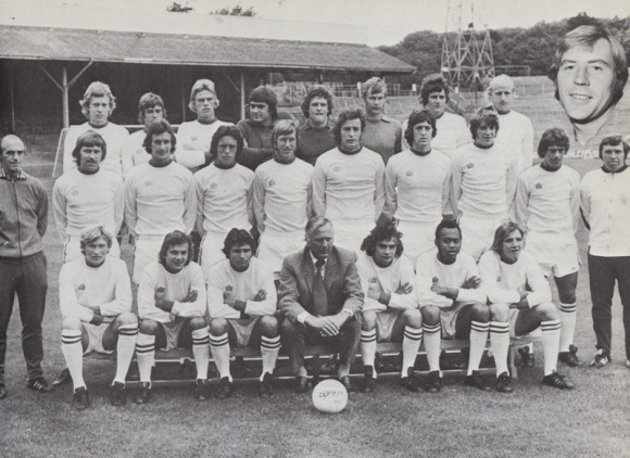 Dave Busby, in the front row of the 1974/75 team photo