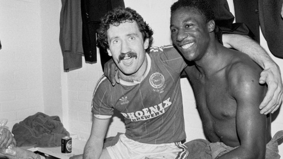 Gerry Ryan and Terry Connor celebrate after the match
