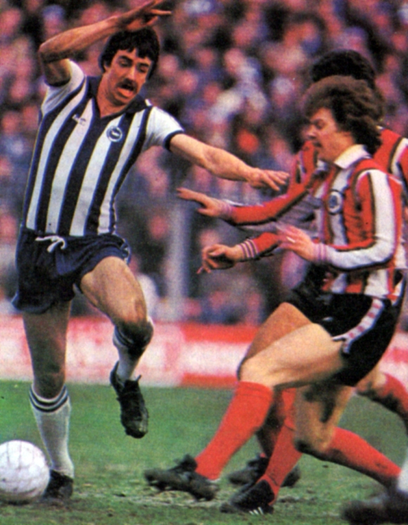 A little jink and Lawrenson evades a tackle.