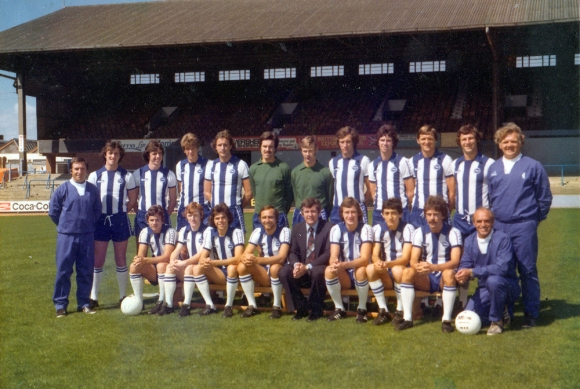 Back row: Ken Gutteridge (assistant manager), Ken Tiler, Mark Lawrenson, Ian Mellor, Andy Rollings, Eric Steele, Peter Grummitt, Chris Cattlin, Gary Williams, Sammy Morgan, Graham Winstanley, George Aitken (coach); Front row: Tony Towner, Eric Potts, Peter Ward, Brian Horton, Alan Mullery (manager), Steve Piper, John Ruggiero, Peter O'Sullivan, Glen Wilson (trainer).