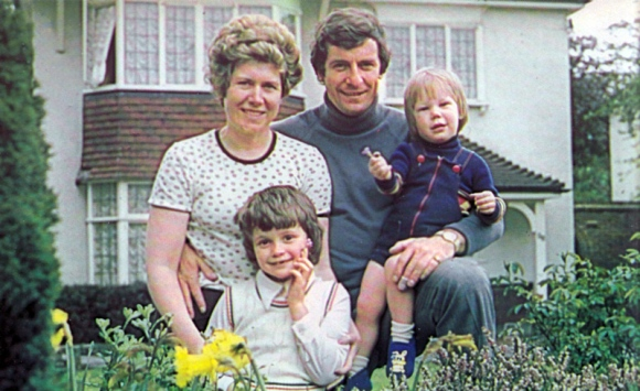 Alan Mullery with his wife June and children Samantha (left) and Neal in the garden of their home at Cheam, Surrey,