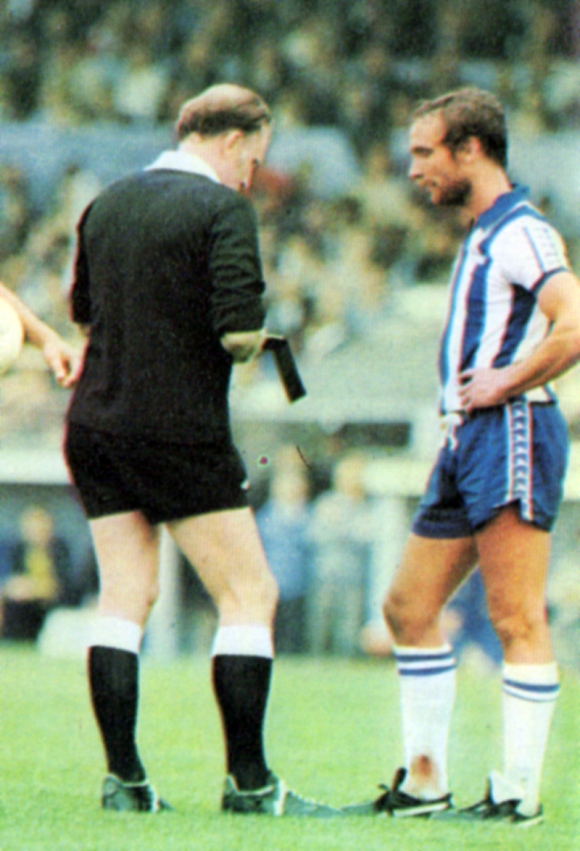 Albion skipper Brian Horton goes into the book after a clash with Talbot, who was also involved in several incidents.