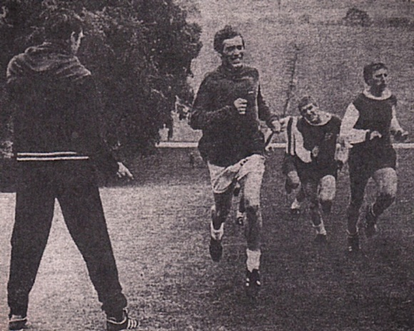 Dave Armstrong (now with Dover) leading Howard Wilkinson up 'The Hill'